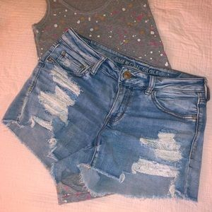 American eagle midi shorts with lace pockets